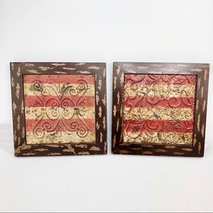 Distressed Metal and Wood Wall Art-2Pc. Set